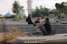 زيارة المقابر في اليوم الأول من عيد الفطر في قطاع غزة