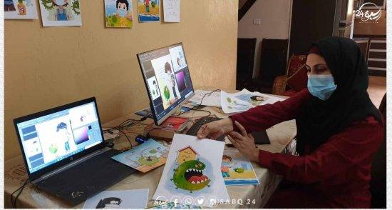 الفنانة نيفين أبو سليم تصمم رسومات تحاكي ألعاب الأطفال لتوعيتهم بخطورة فيروس كورونا